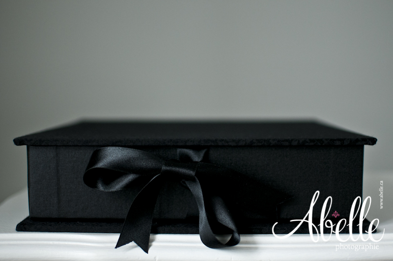 Black fine art quality portfolio box with ribbon