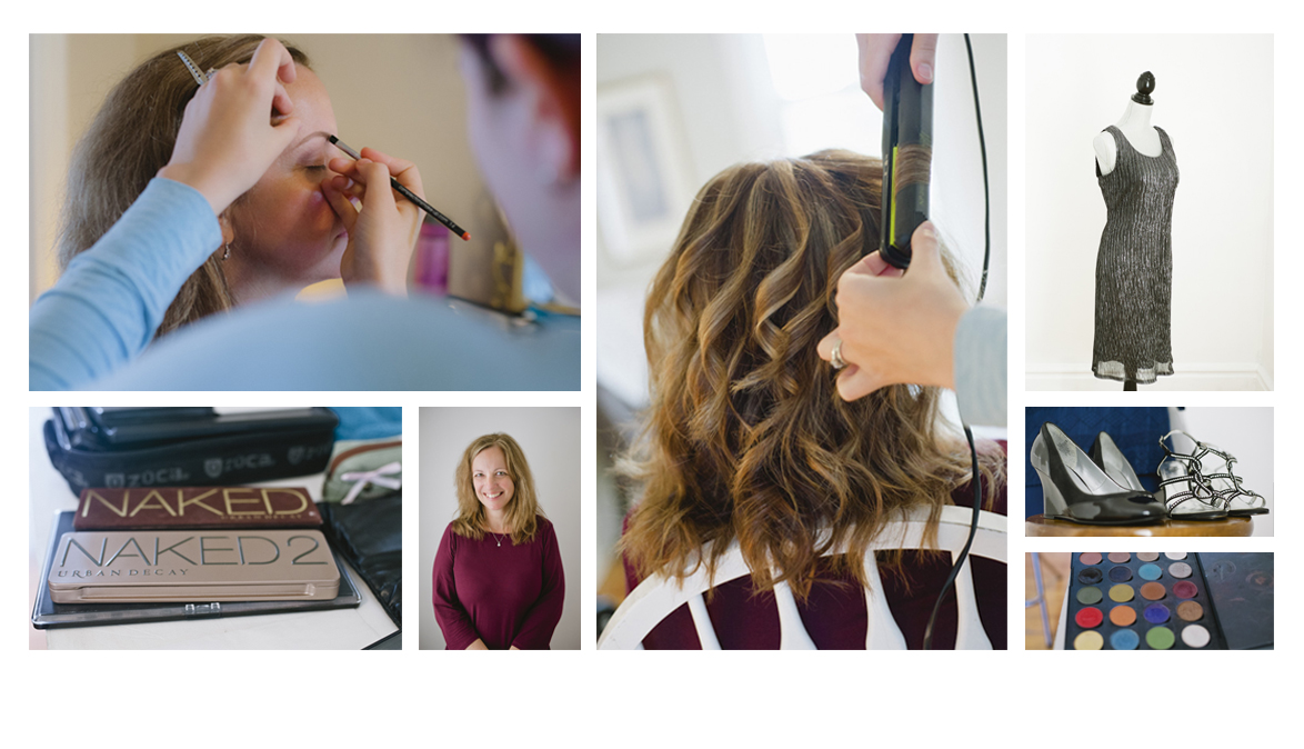 Images of a makeover for a personal branding photoshoot.