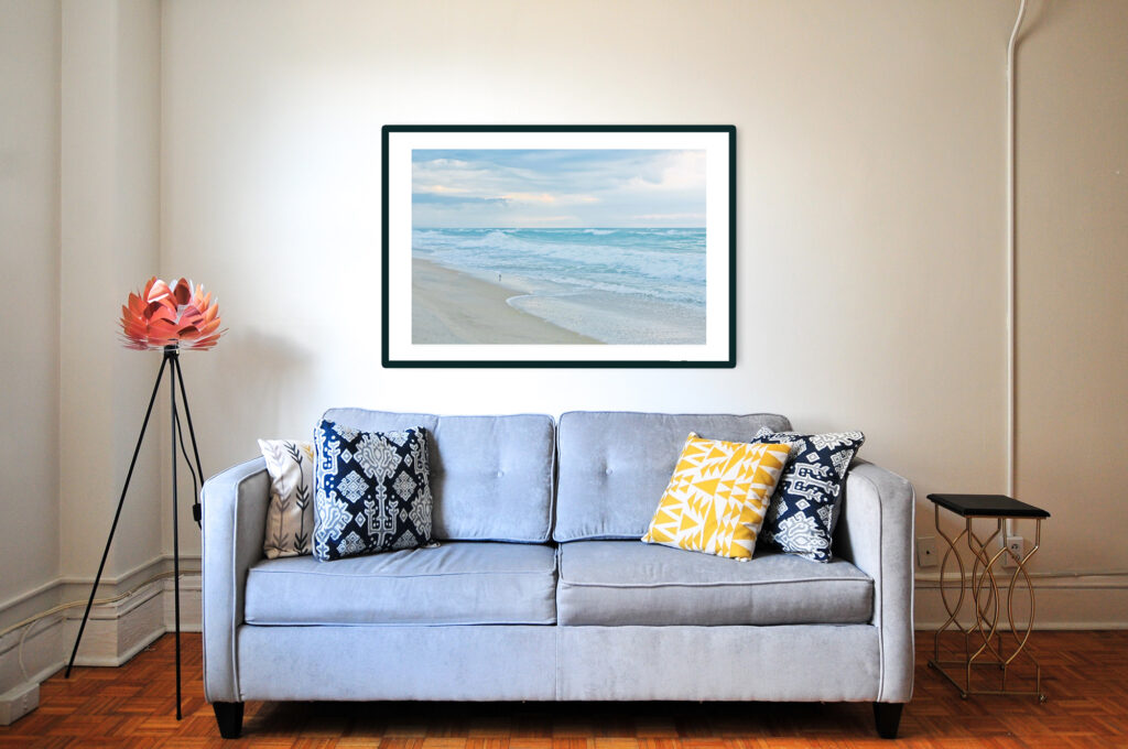 Framed print of morning Cape Hatteras seashore. Shot by Isabelle Bouchard. Fine Art America
